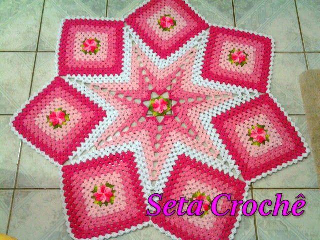 Seta Crochê: Tapete estrela com flor