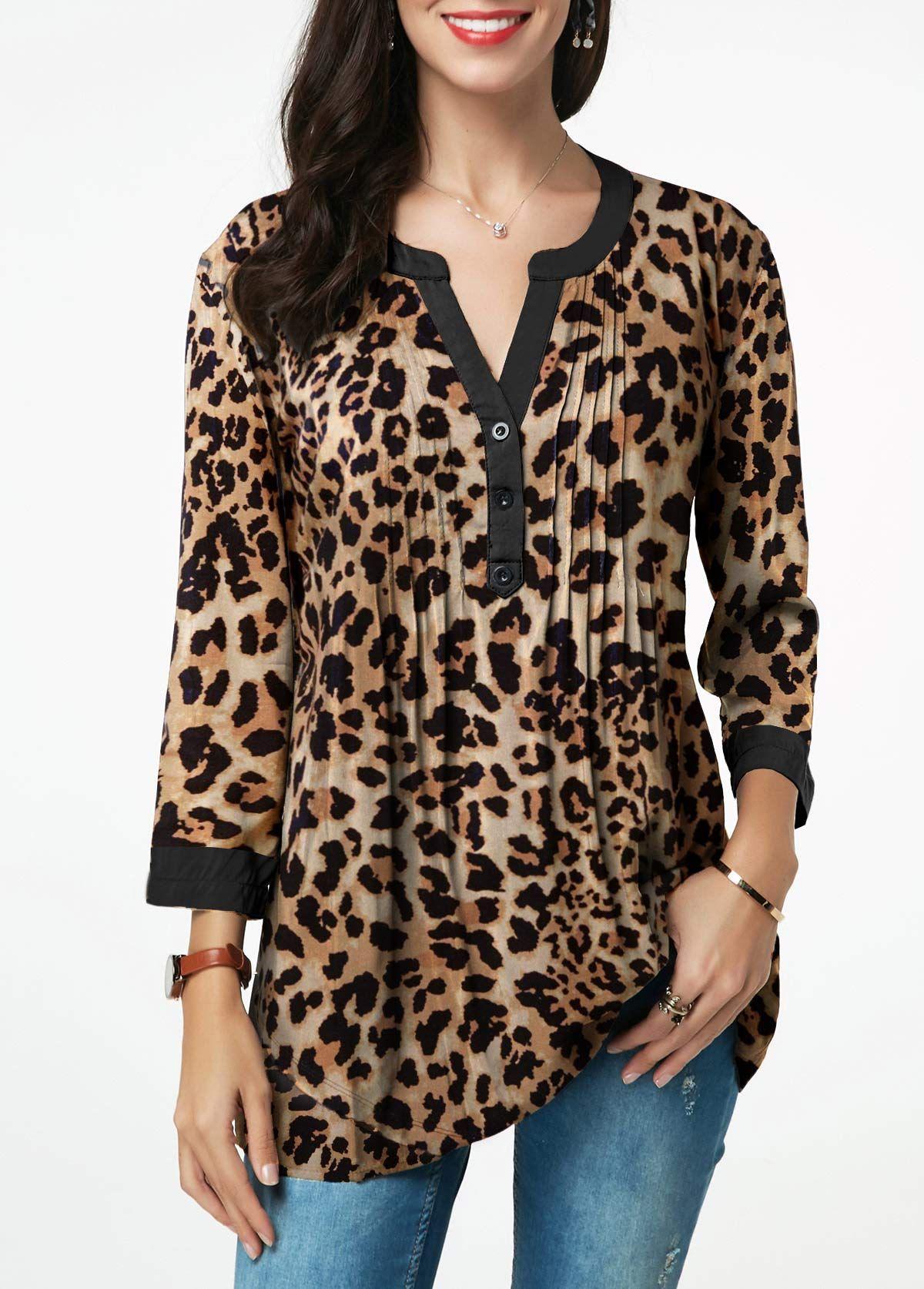 Cinnamou Sudadera Camiseta Mujeres Blusa de Leopardo Mujeres de Manga Larga para Mujer Camiseta T-Shirt Tops