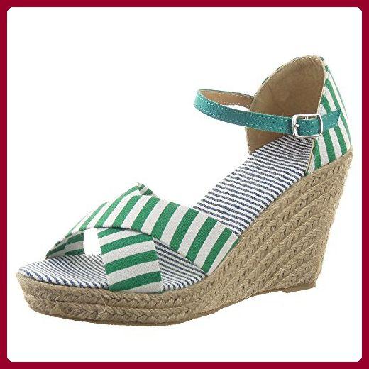 Sopily - damen Mode Schuhe Espadrilles Sandalen Plateauschuhe Seil Linien - Grüne WL-P75 T 40 - Espadrilles für frauen (*Partner-Link)