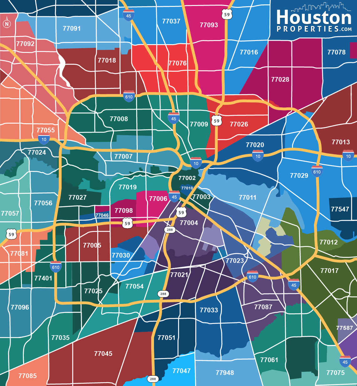 Zip Code Map Houston Tx 2020 Update: Houston Neighborhoods (With images) | Houston map