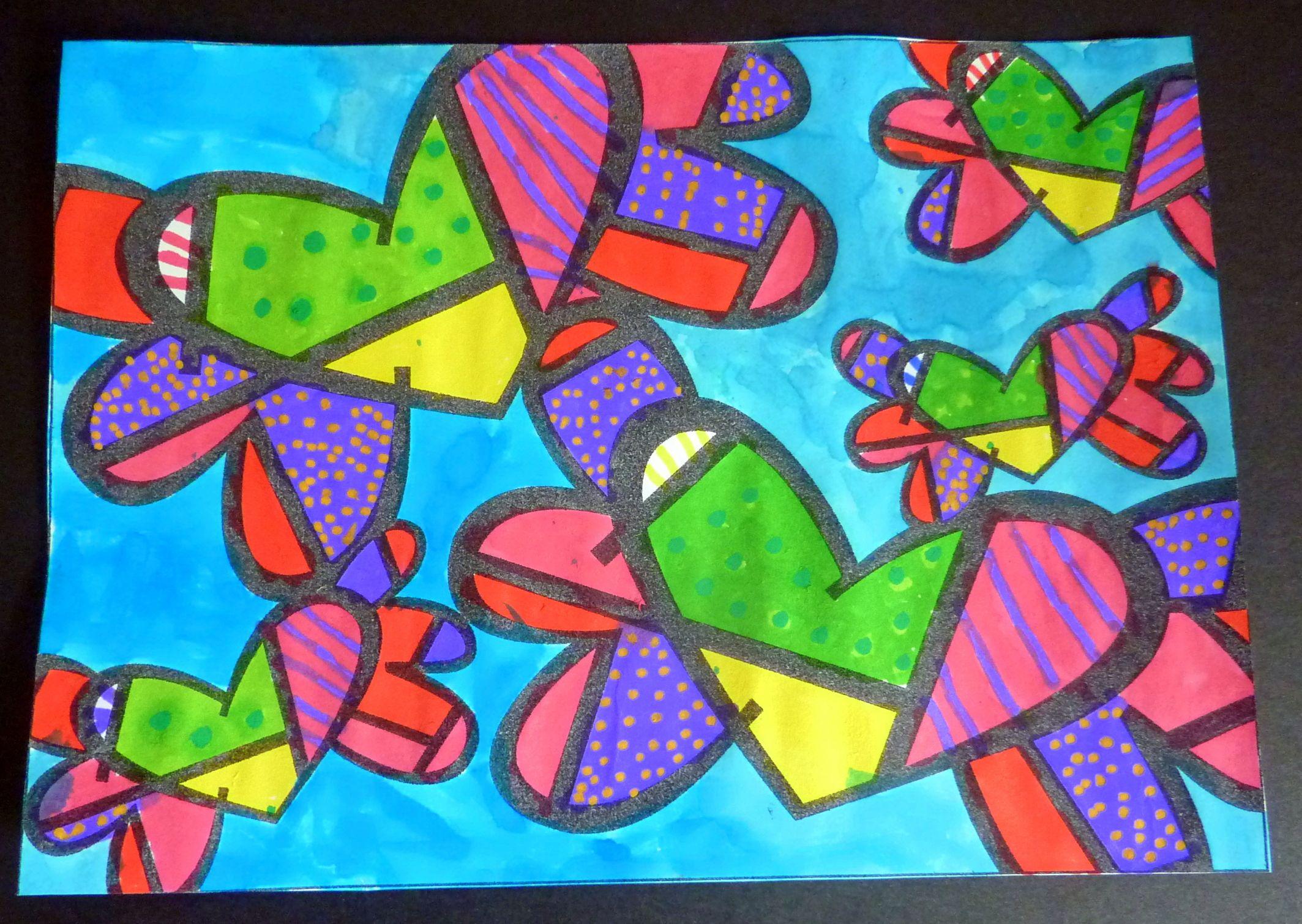 Coloriage Fleur Britto.Arts Visuels Inspires De Romero Britto Classes Valentines Art