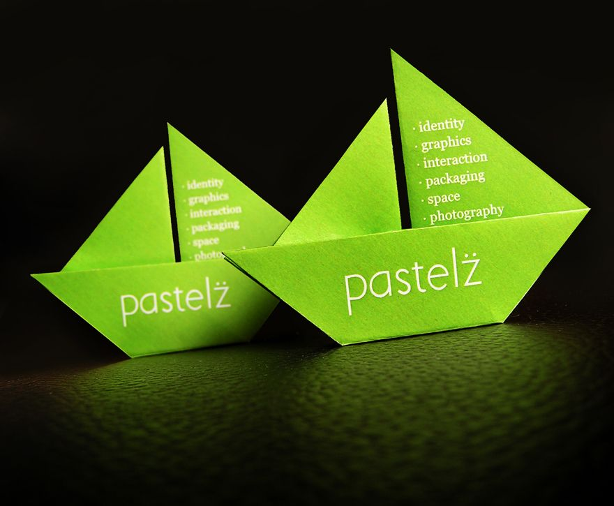 Pastelz - Business Cards: a hand crafted origami boat as a ...