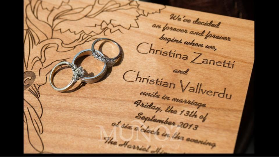 www.facebook.com/martianlaserengraving  Custom, laser engraved wedding invitations on wood.