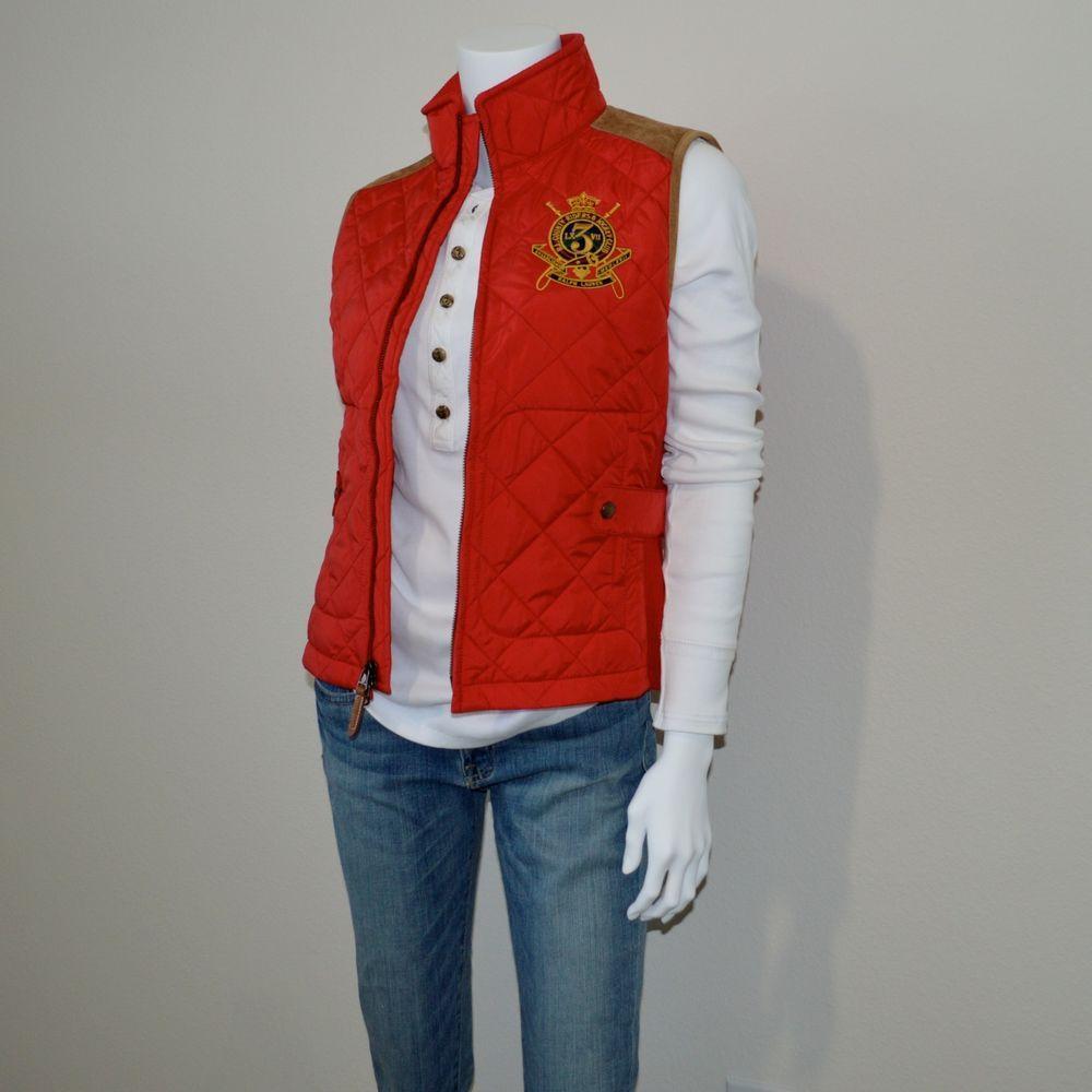 b062893d9c0d Ralph Lauren Sport Quilted Women s Equestrian Barn Vest Jacket Red ...