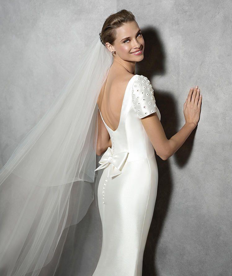 TALIN - Vestido de noiva moderno de manga curta | Brautkleider ...
