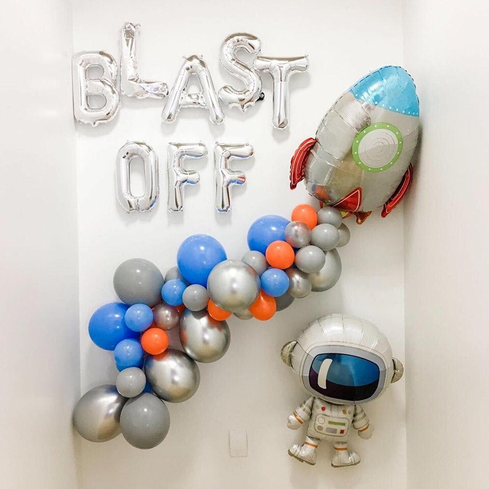 Space Party Backdrop - Space Party Balloons - Blast Off Party Decor - Rocket Ship Balloon - Astronaut Party Decor - Balloon Garland Kit