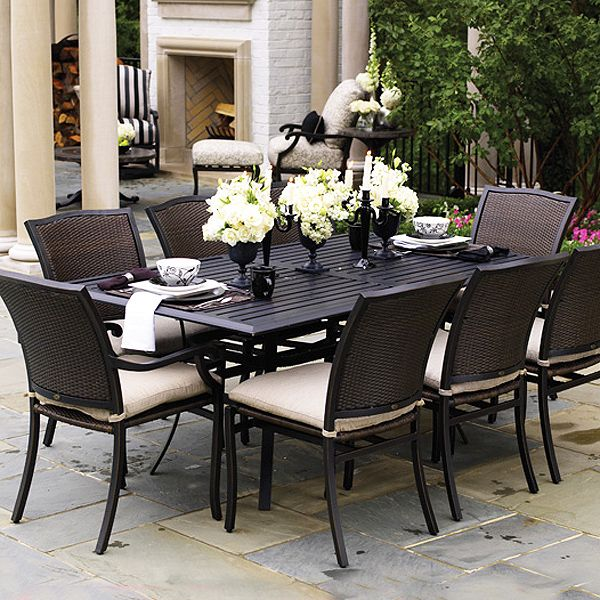 Amazon Outdoor Wicker Patio Furniture New Resin 7 Pc Dining Inspiration Wicker Dining Room Sets Design Decoration