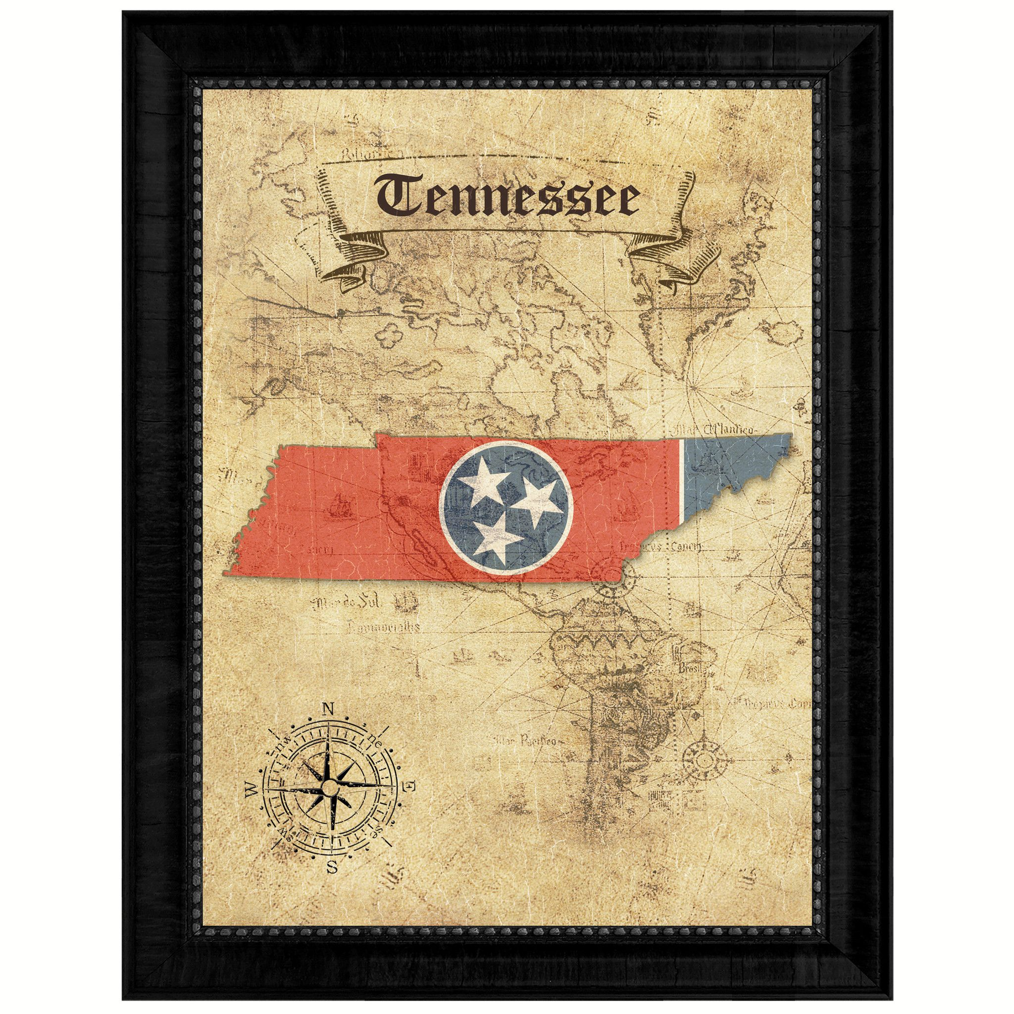 Tennessee State Vintage Map Gifts Home Decor Wall Art Office ...