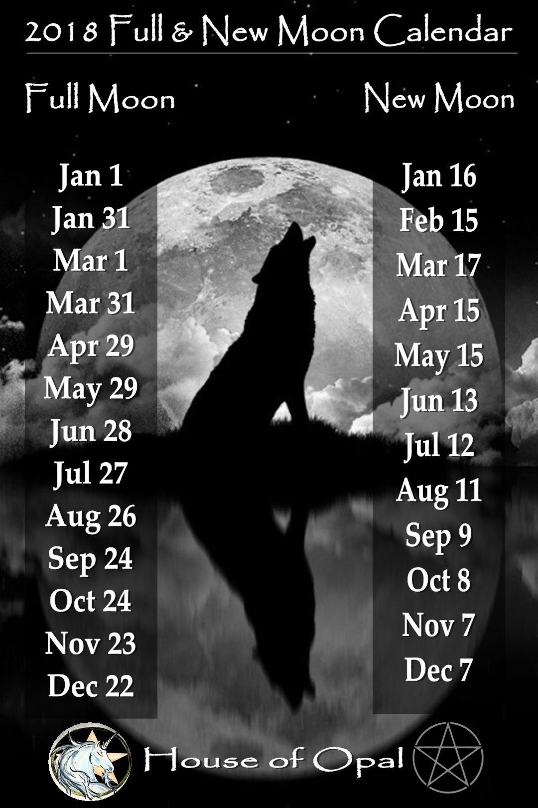 2018 Full & New Moon Calendar | moon | Pinterest | Moon ...