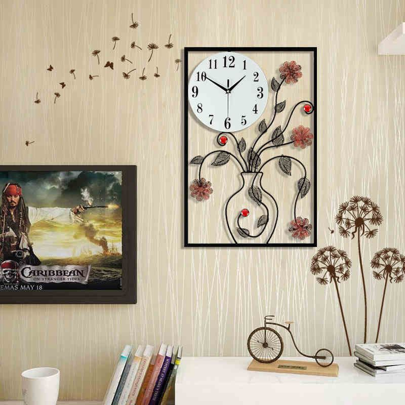Creative Vase of flowers Living Room Bedroom Watch Clock Large Decorative Wall Clocks saat reloj de pared cocina horloge murale