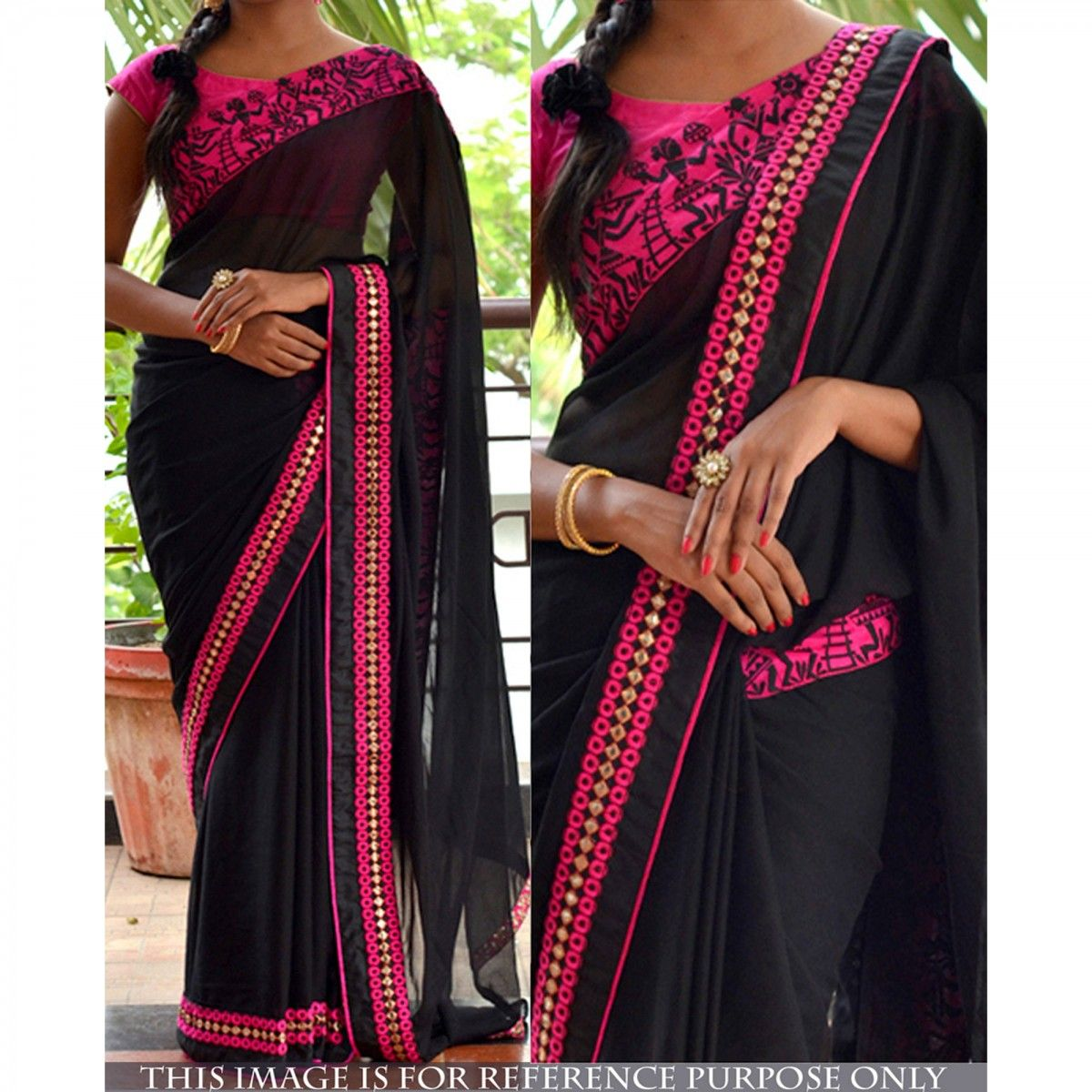 Buy Black And Pink Saree - Online Women Ethnic Wear at Peachmode.com