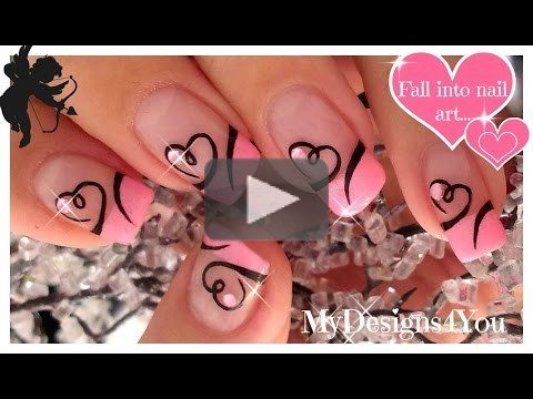 Inspiration by MyDesigns4You. Easy Valentine\'s Day Nail Art | Cute Heart French Tip Nails #mydesigns4you #valentinesnails #nailart #heartnailart, #pinknails #valentinesdaynails #valentinesday  @bloomdotcom