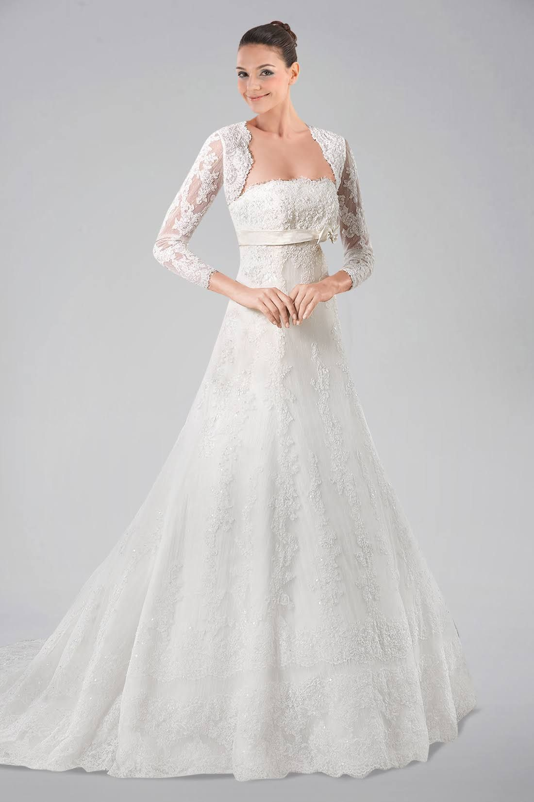 Beauteous long sleeve wedding gown with lace overlay and bowknot