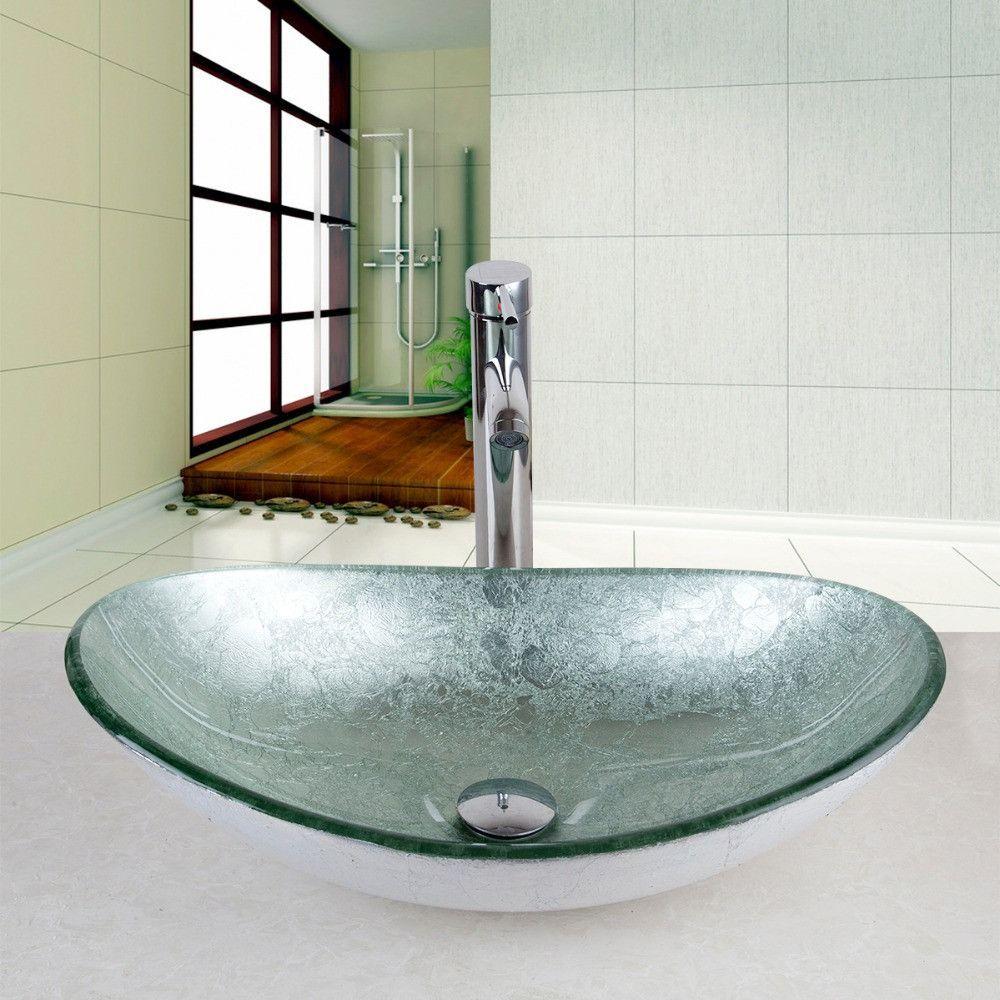 US Modern Bathroom Artistic tempered Glass Vessel Vanity hand print ...