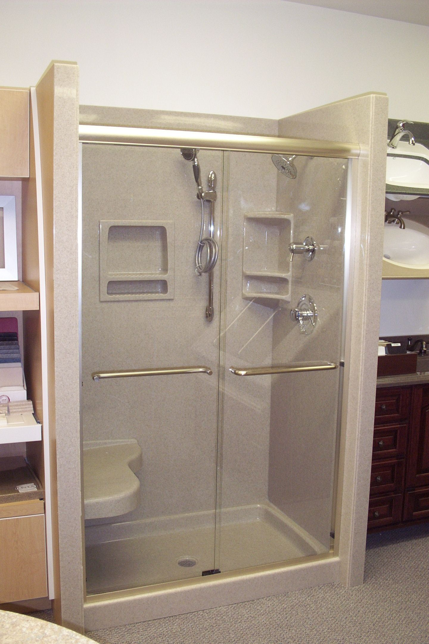 Onyx Shower With Sliding Glass Doors Shower Caddies Shower Head Bar Add As As Many Of The Dozen Shower Acce Onyx Shower Bathroom Makeover Shower Accessories