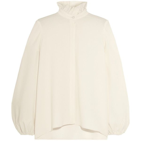 Co Ruffled crepe blouse (€740) ❤ liked on Polyvore featuring tops, blouses, sweaters, white, crepe top, ruffle top, flutter-sleeve top, ruffle collar top and crepe blouse