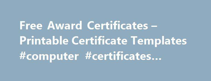 Free Award Certificates – Printable Certificate Templates ...