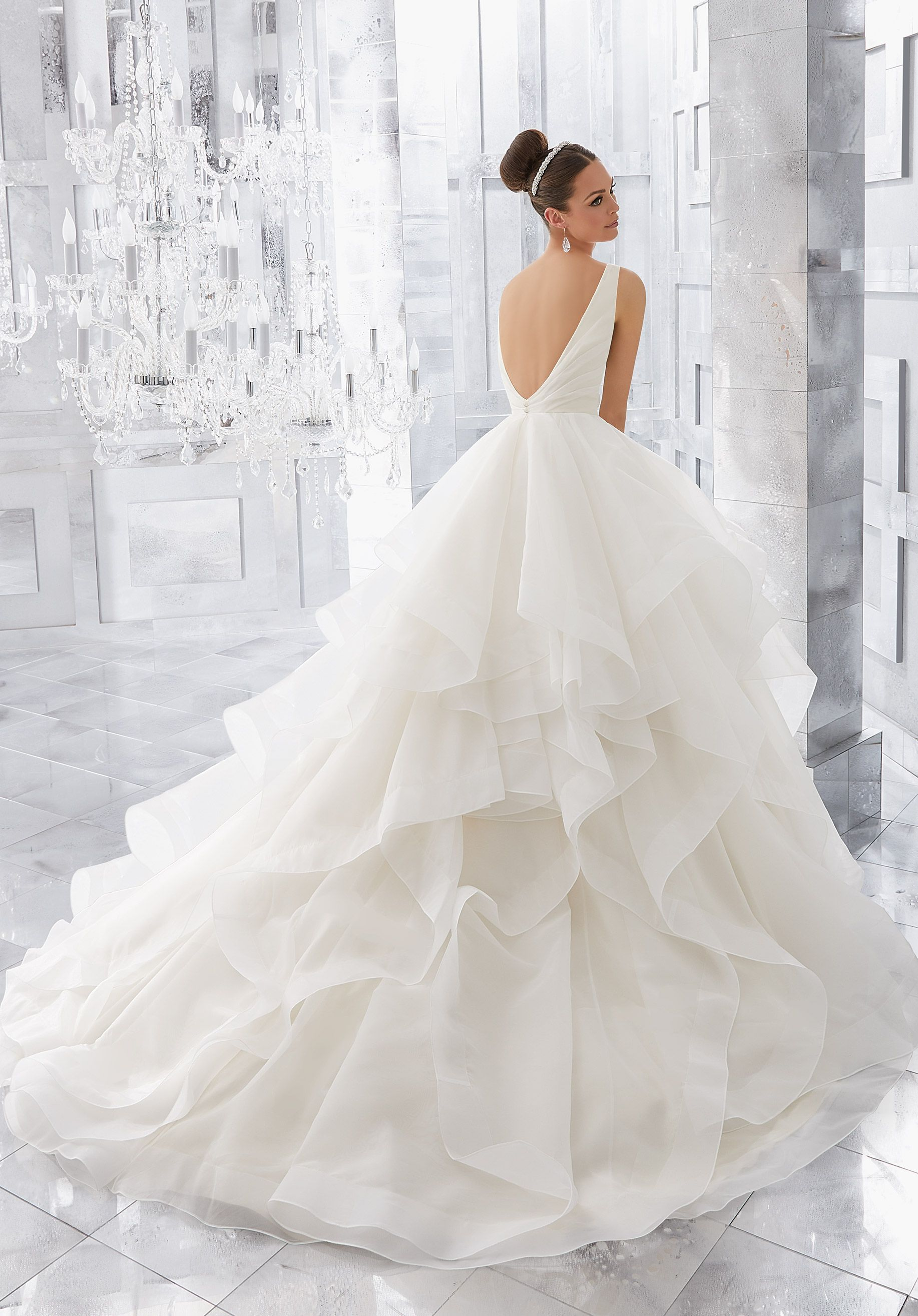 Light and Airy, this Stunning Flounced Organza Ball Gown with Wide ...