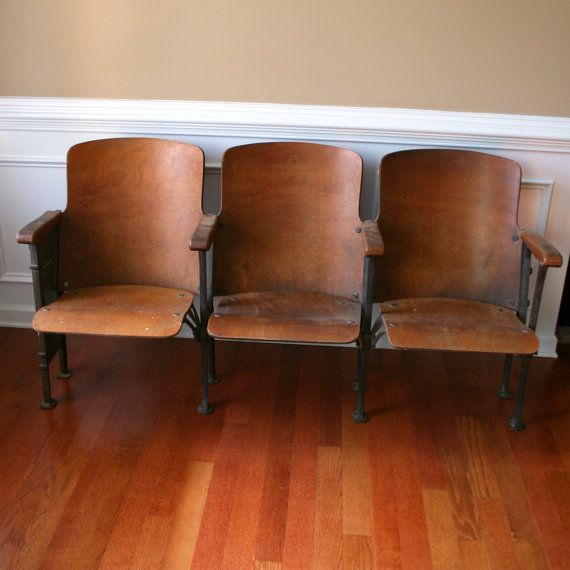 e73cd136d248 Vintage Movie Theater Chairs Folding Cinema Seats by RhapsodyAttic, $600.00