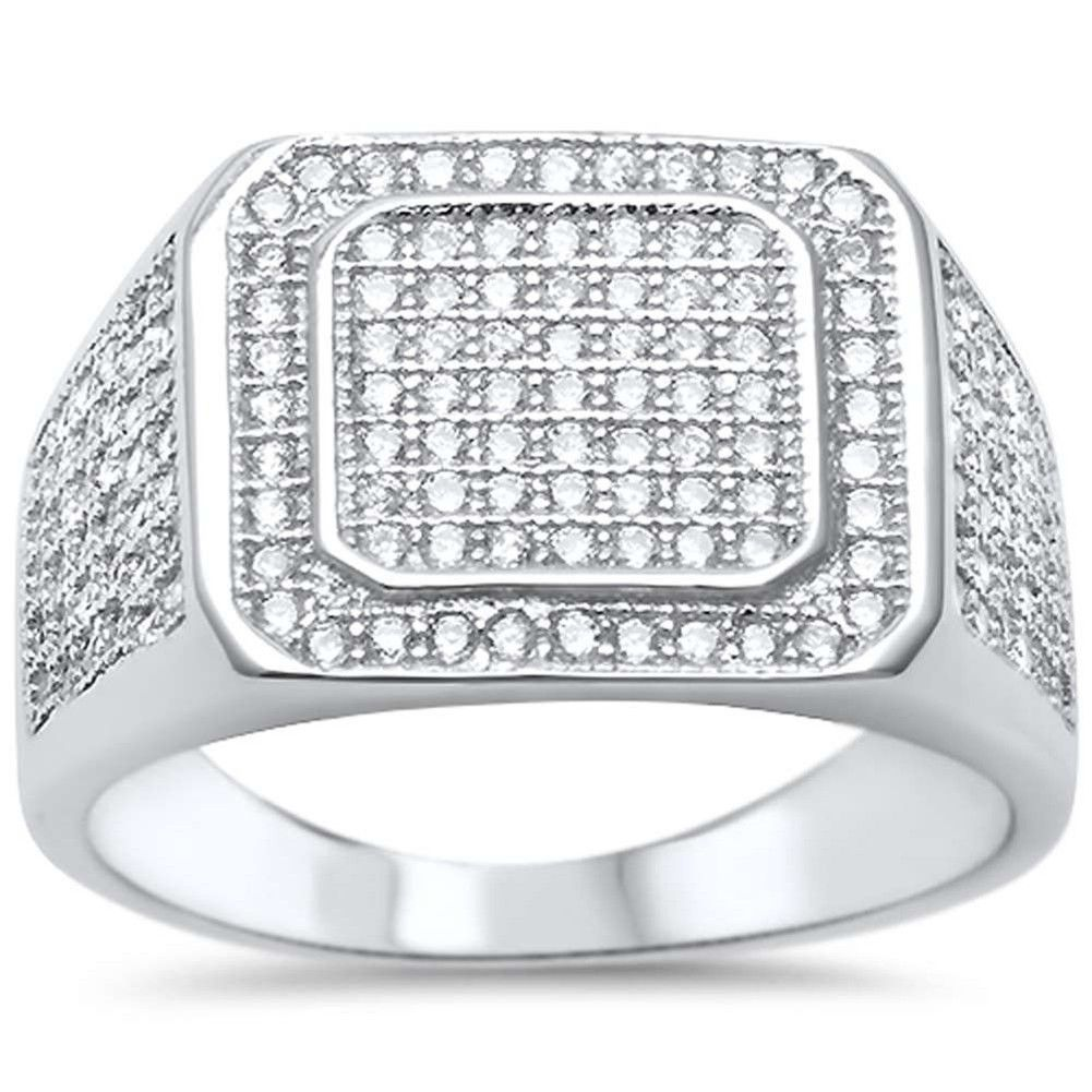 Men Ring Round Micro Pave Cubic Zirconia 925 Sterling Silver Hip Hop Iced Out Rings For Men Sterling Silver Mens 925 Sterling Silver