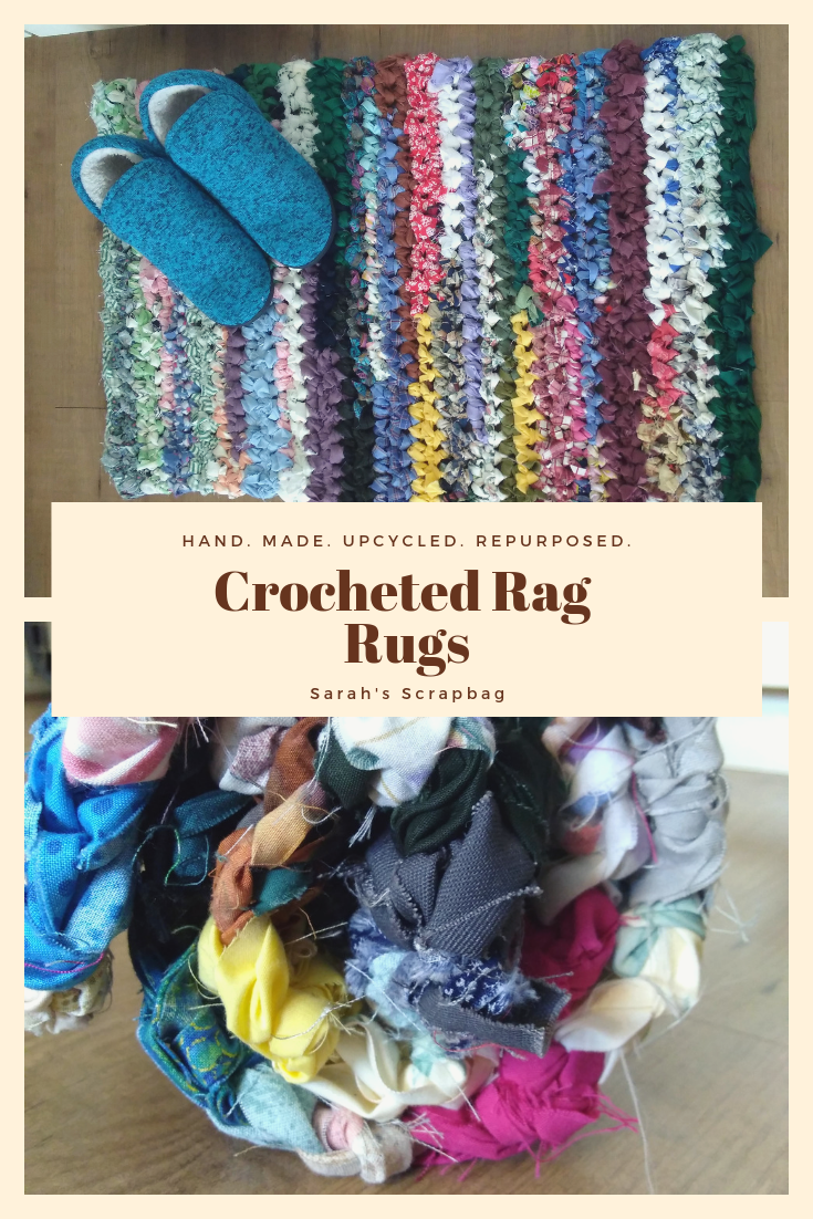 Rag Rugs For The Kitchen Bath Or Entryway Crocheted From Repurposed Fabric Strips Each One Is 2x3 Feet Multicolored Crochet Rag Rug Rag Rug Fabric Strips
