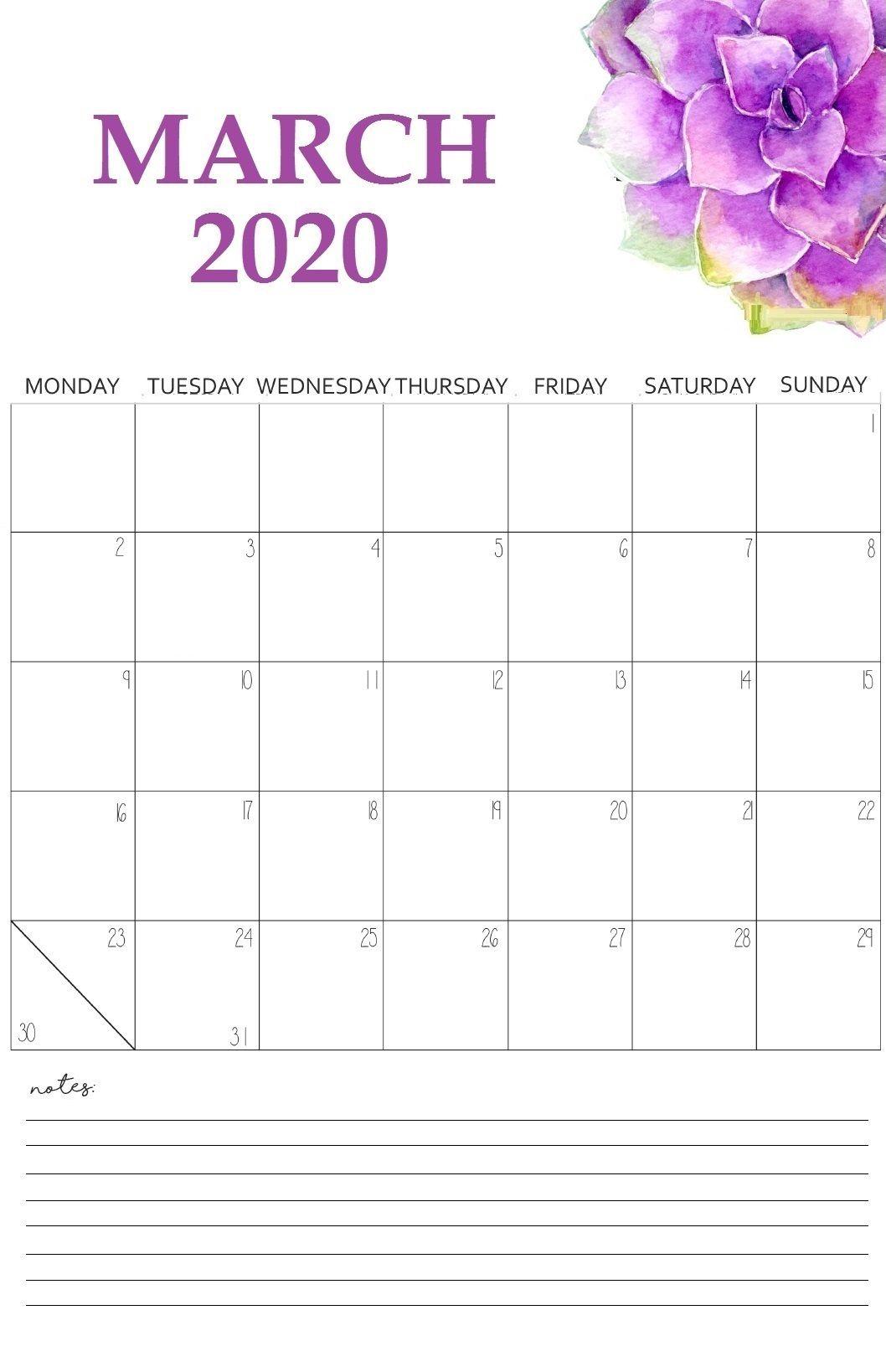 March 2020 Calendar In 2020 Free Printable Calendar Templates