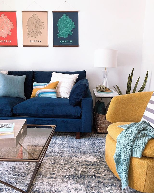 Color Shy Don T Be Check Out This Living Room With Our Harmony Sofa In Ink Blue An Blue Sofas Living Room Blue Living Room Decor Blue And Mustard Living Room