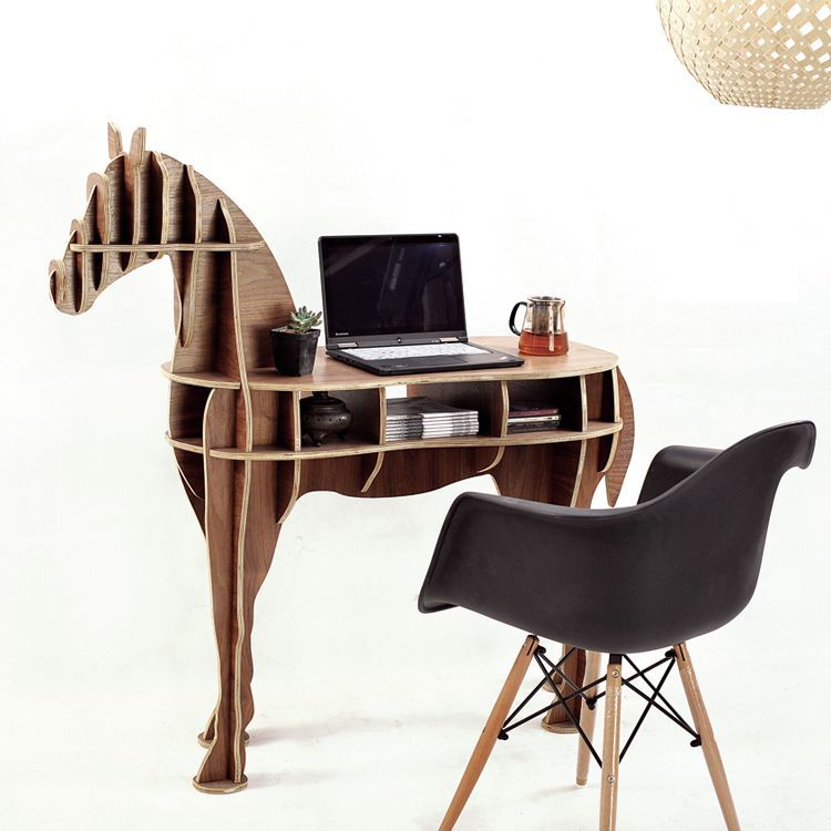 wood craft horse coffee table book shelves horse desk horse table