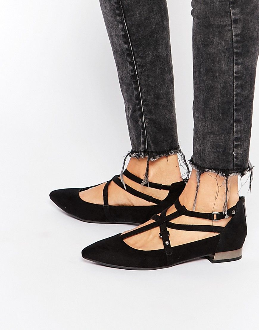 Buy Women Shoes / New Look Black Ghillie Strap Detail Flat Shoes