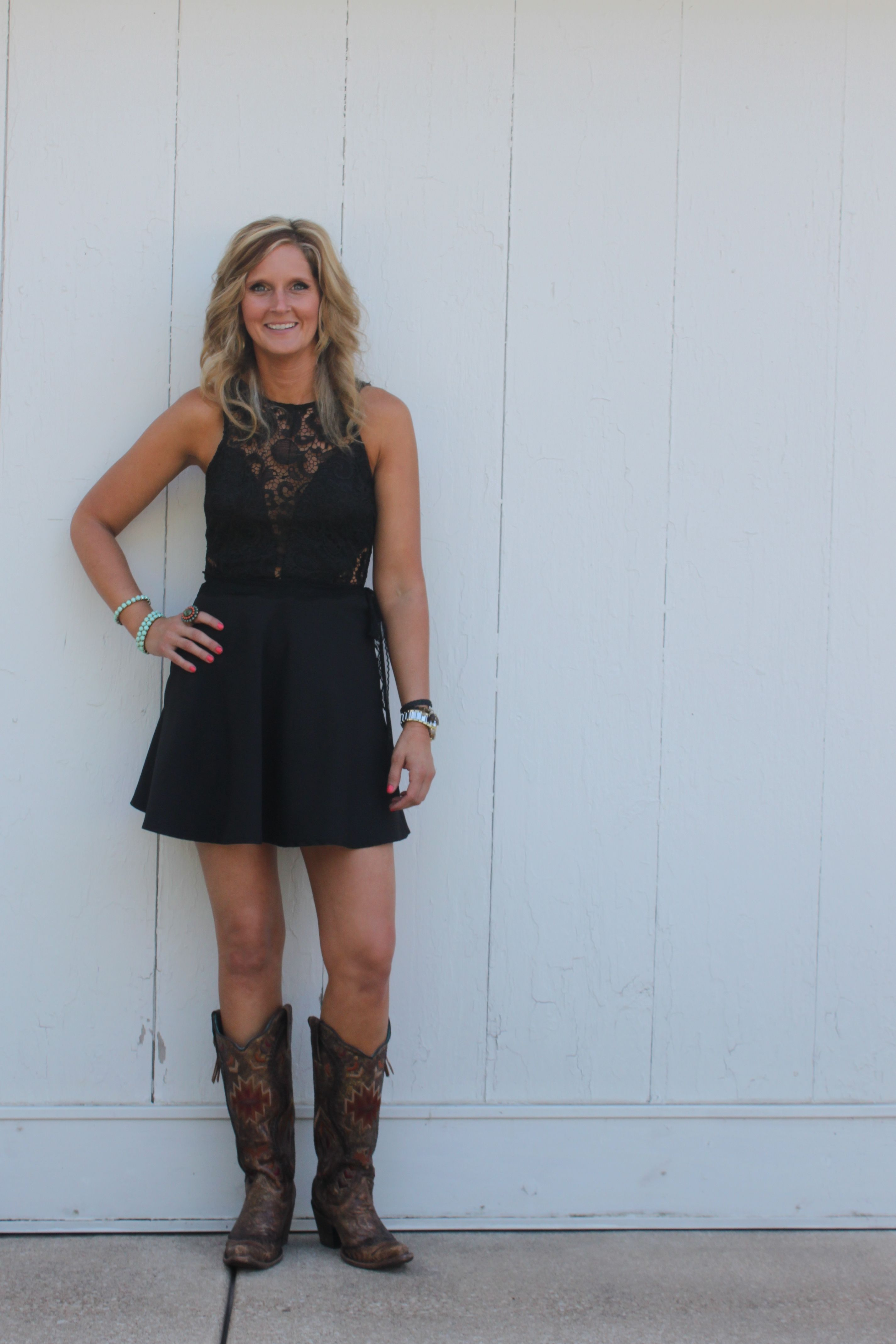 Image result for dress with cowboy boots wedding guest My Style