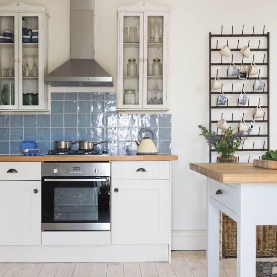 kitchens white kitchen with blue tile backsplash also wall mount rh pinterest co uk