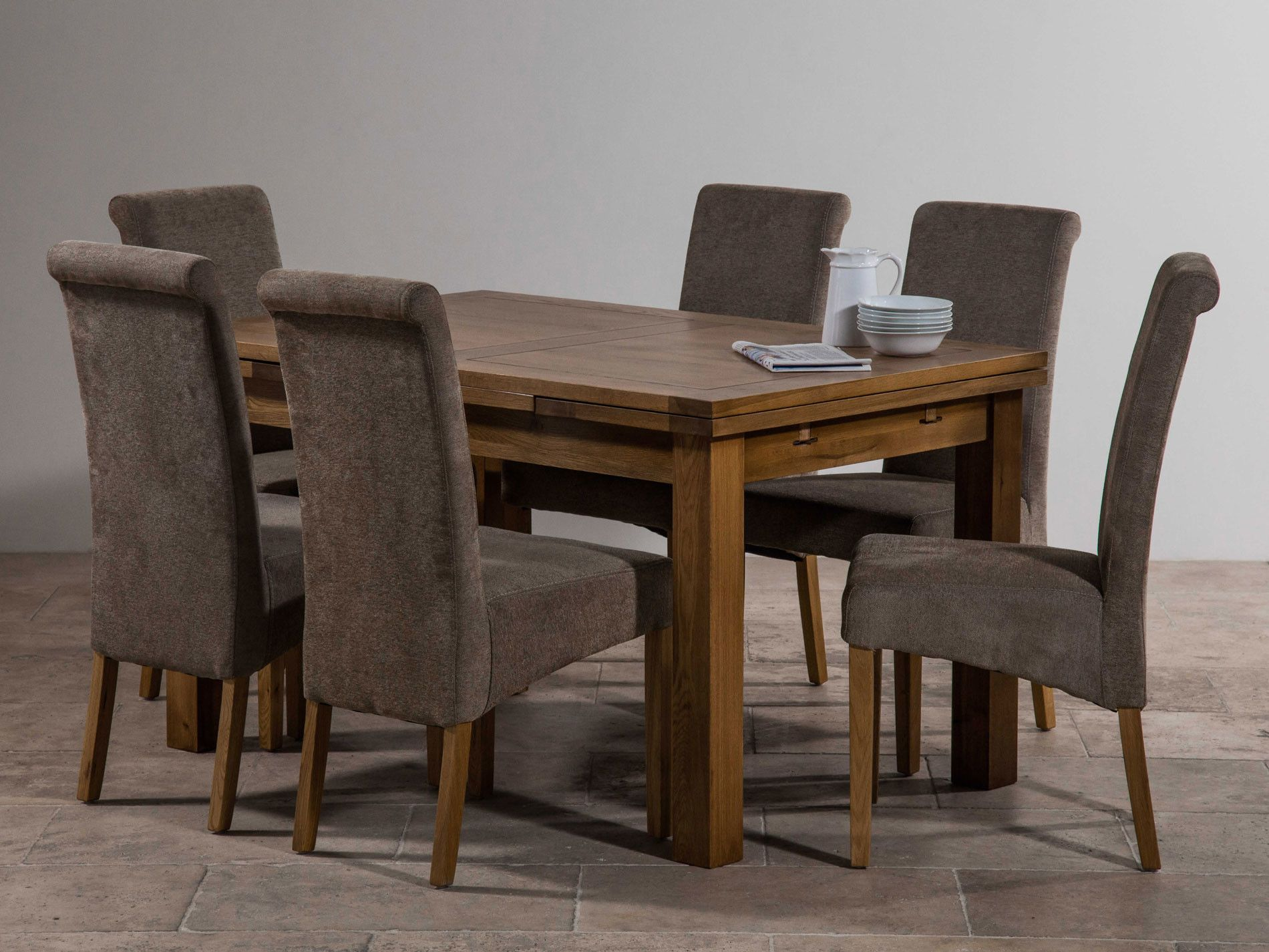 Modern Grey Extending Dining Room Dinner Table Kitchen Wooden Wood Furniture NEW