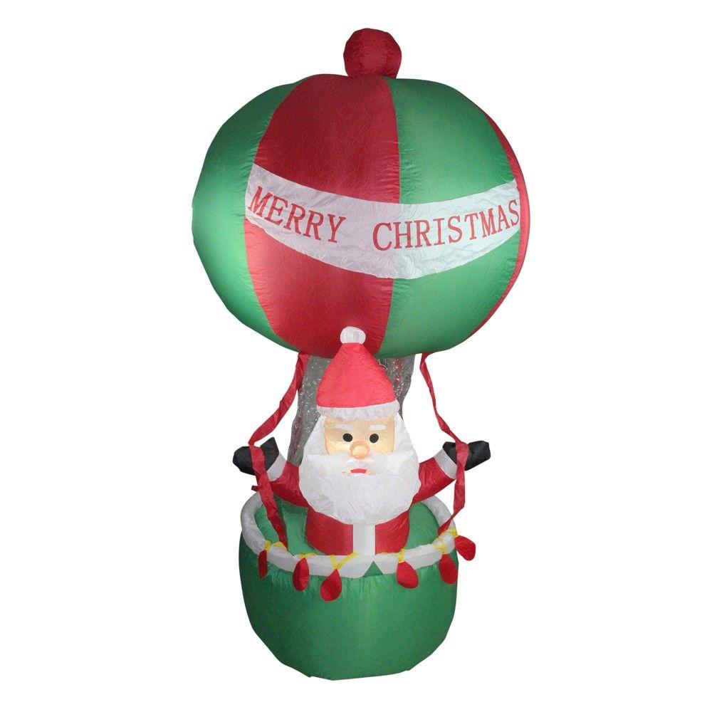 Inflatable Santa In Hot Air Balloon