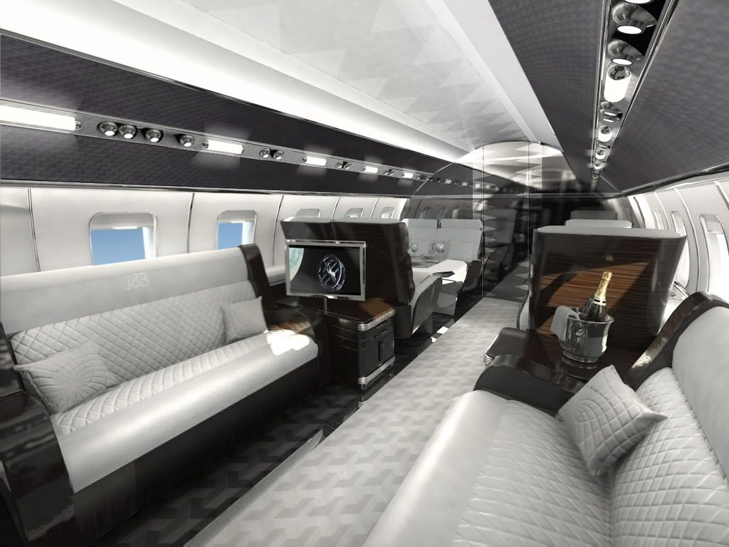 Private jet interior furnished like a vintage train aviation - Stunning Interior For A Private Jet