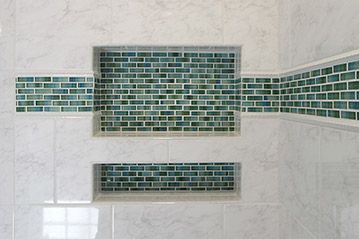 Double Shower Niche With Decorative Green Glass Accent