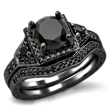 225ct black round diamond engagement ring wedding set 14k black gold front jewelershttp - Womens Black Wedding Rings