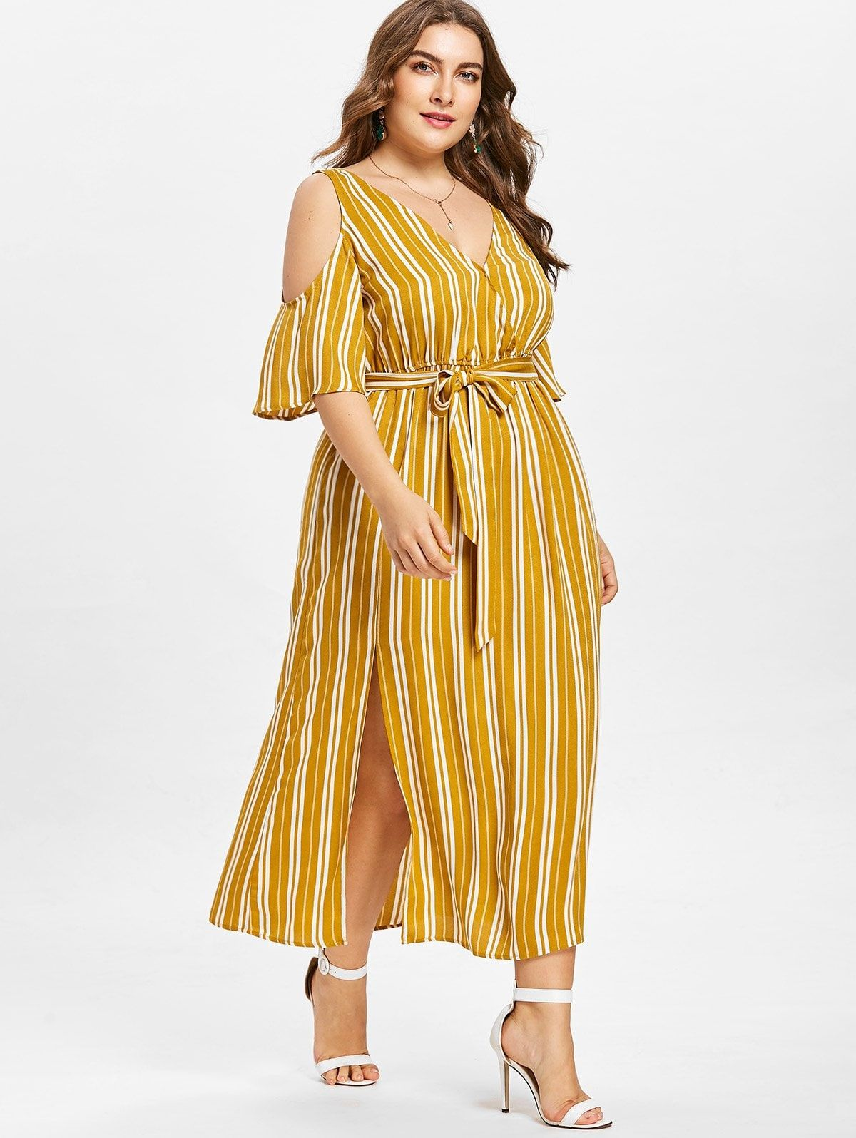 c7bee4495b Plus Size Striped Cold Shoulder Dress - BEE YELLOW XL | Outfits ...