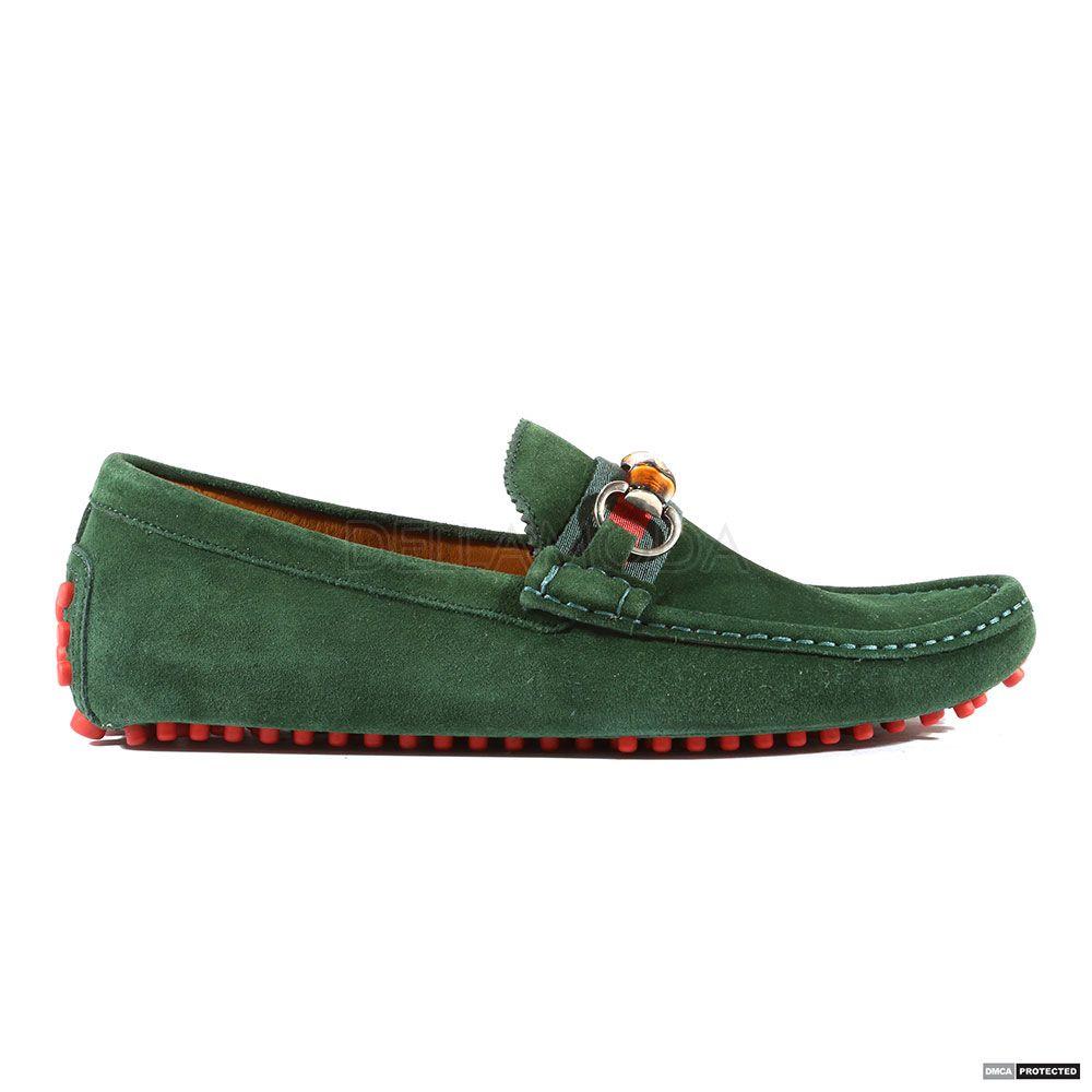 1e74e05c3c50 Gucci Mens Queen   Nylon Verde   V.R.V. Green Loafers (GGM4002)