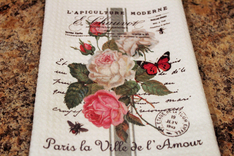 floral towel rose towel waffle weave towel french inspired rose rh pinterest com
