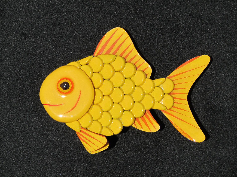 Metal Bottle Cap Fish Wall Art - Goldfish 3 Yellow. via Etsy ...