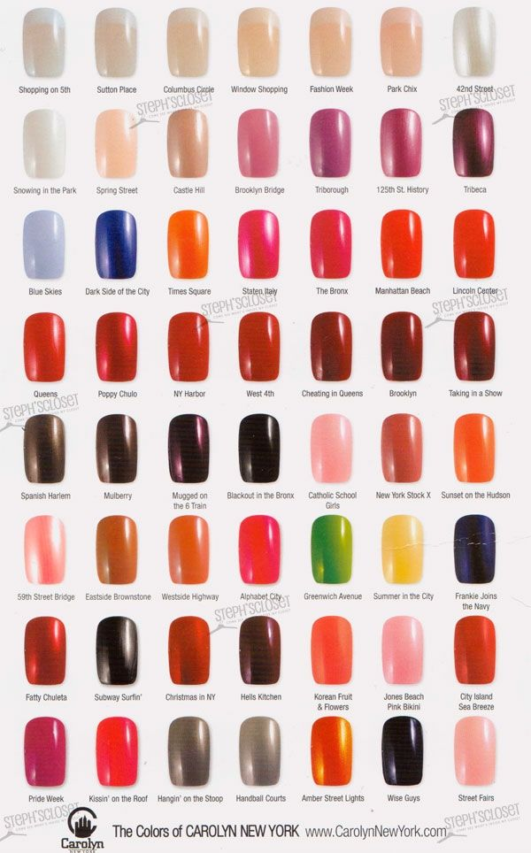Opi Nail Polish Color Chart