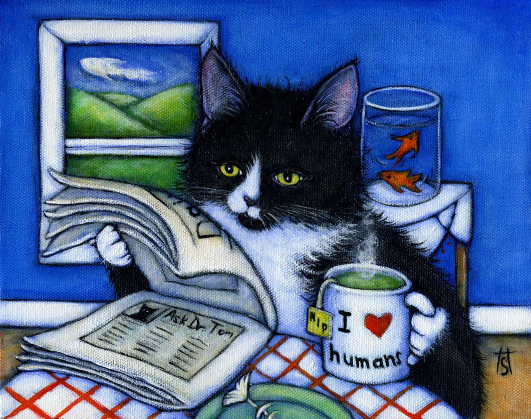 Tuxedo Cat Print Breakfast With Charlie Etsy In 2020 Cat Art Tuxedo Cat Art Tuxedo Cat