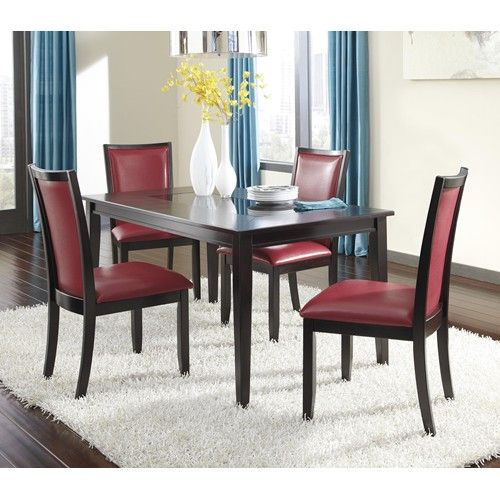 Sleek and stylish, this contemporary dining table impresses with an inset black glass top. A dark espresso finish and the clean lines of the tapered legs complete the look of the table. Contemporary upholstered dining chairs with red vinyl upholstery provide seating.