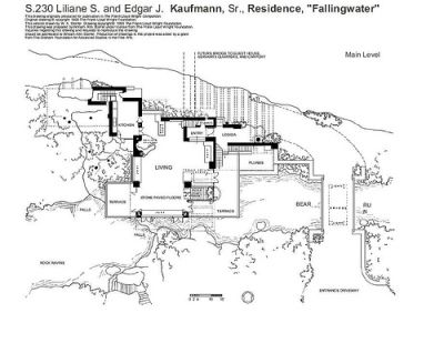 la maison sur la cascade, plan 1 - Frank Lloyd Wright Houses old