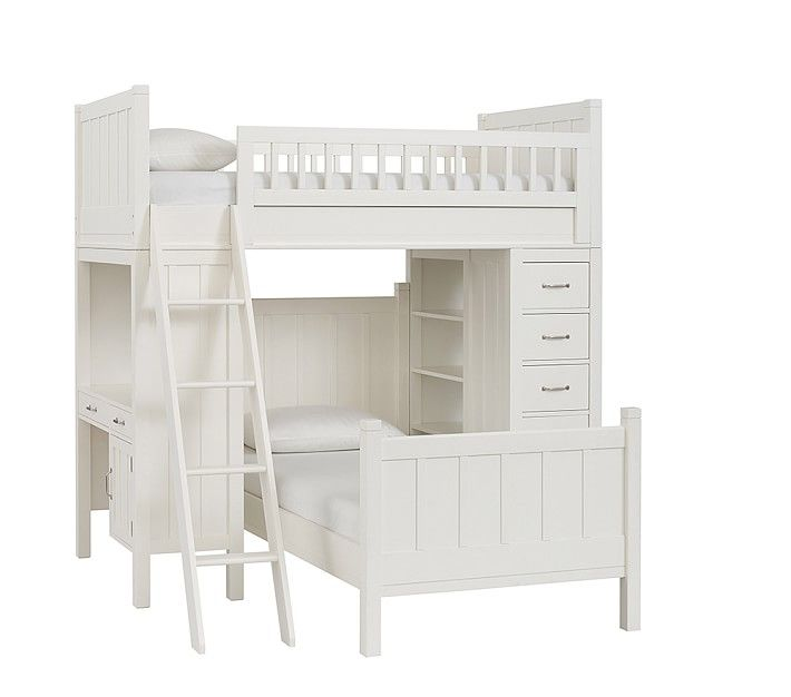 Camp Bunk System with Twin Bed, Simply White | Babies/kids rooms ...