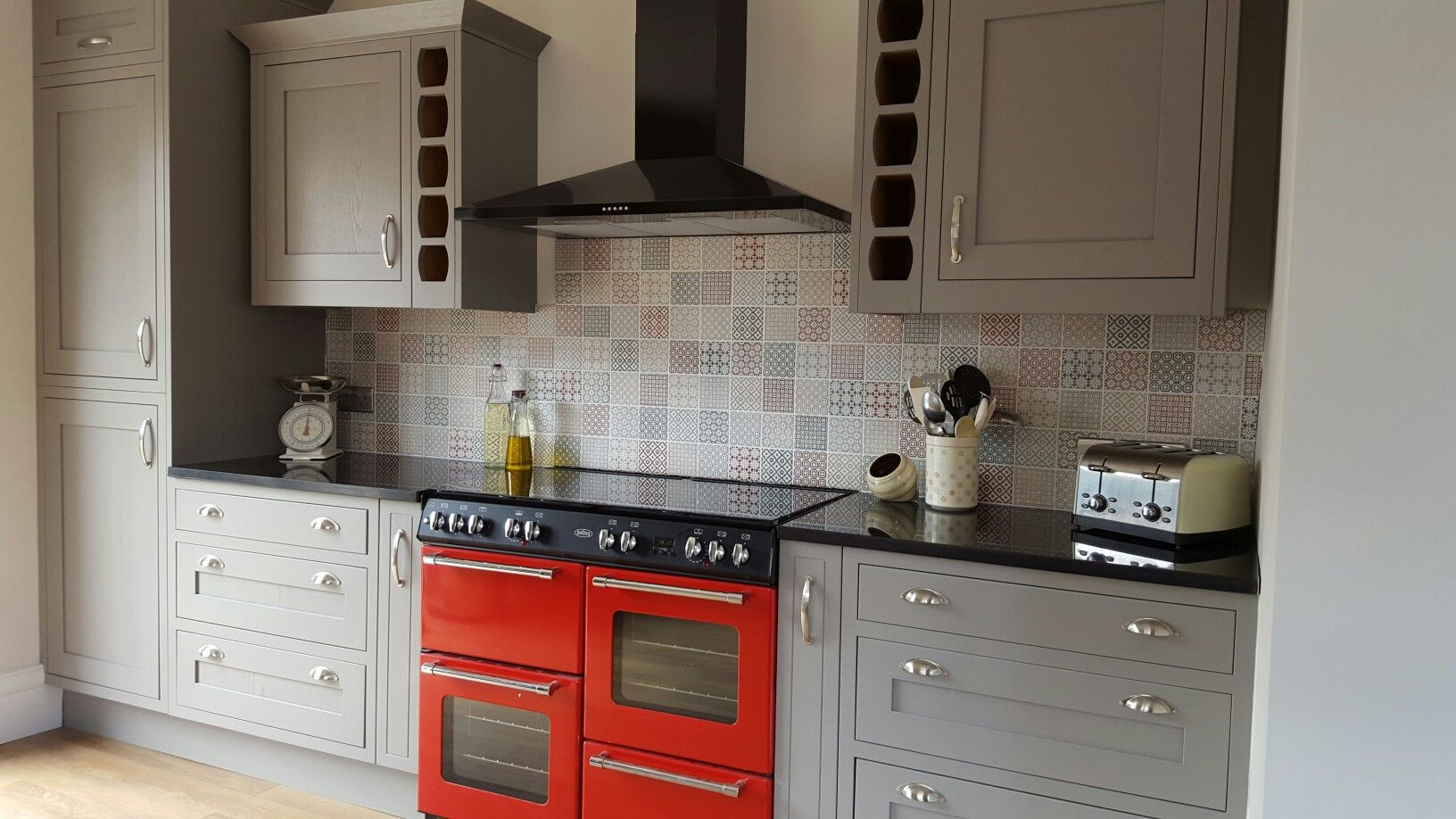 Our kitchen after, B&Q Carisbrooke taupe framed units and