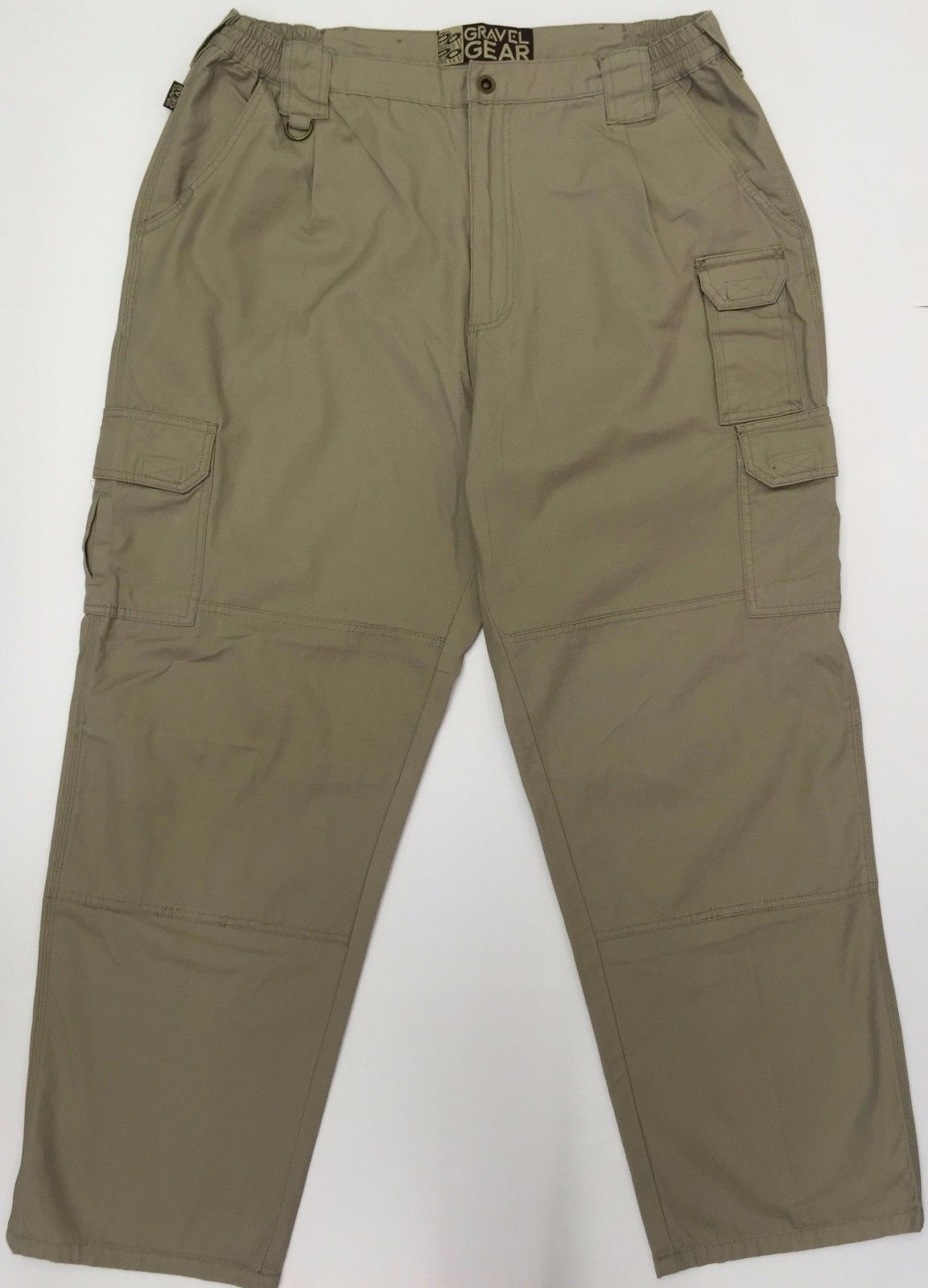 Gravel Gear 7-Pocket Tactical Pants with Teflon Khaki 100% Cotton Men 40X32 EUC