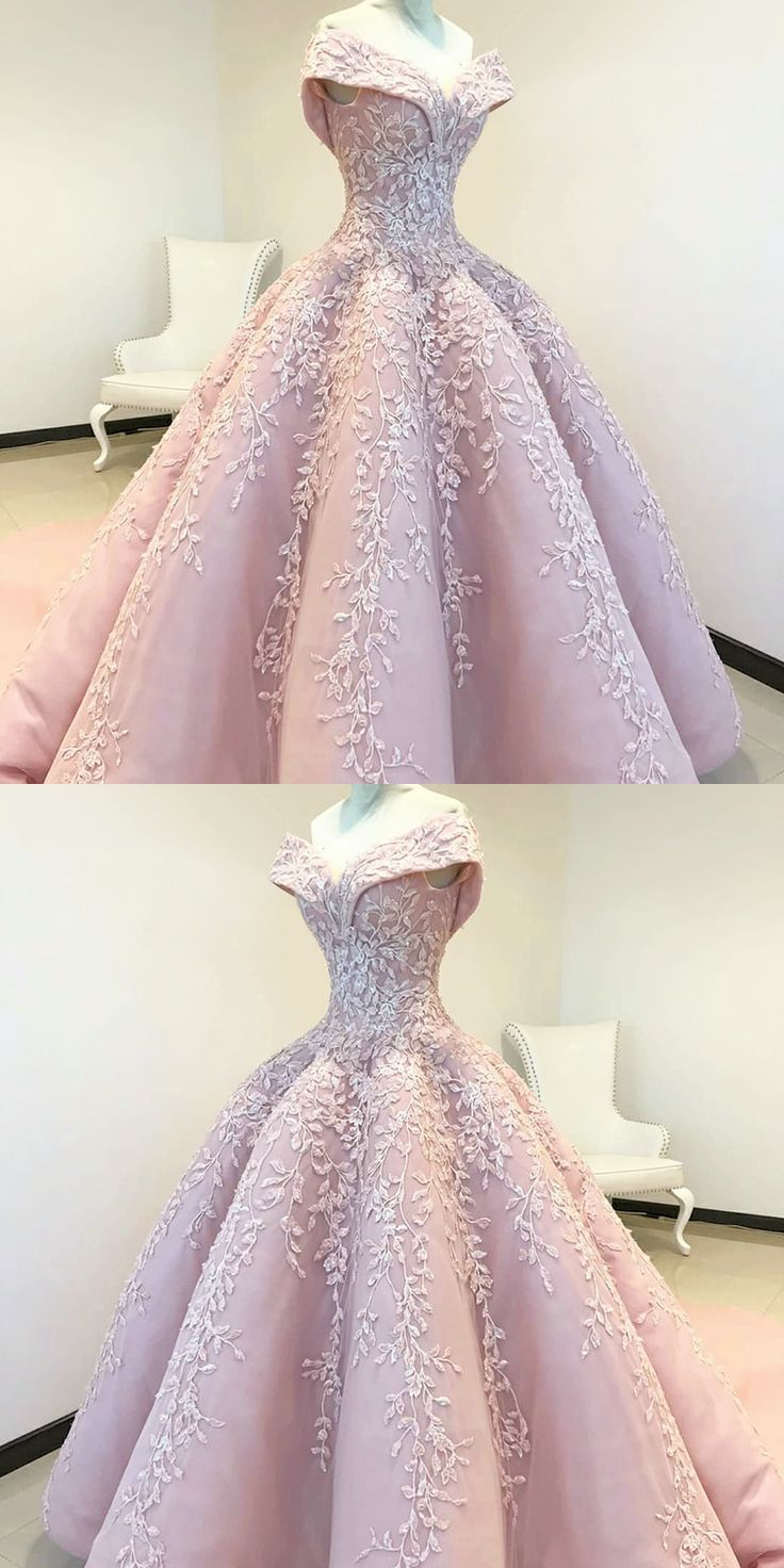 Off the Shoulder Ball Gown Pink Long Prom Dress with Appliques