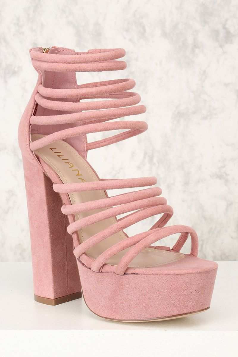a470eec063a Sexy Dusty Pink Open Toe Strappy Platform Chunky High Heels Nubuck ...