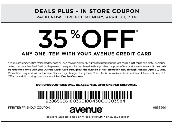35 Off One Item With Avenue Credit Card In Store Printable Coupons